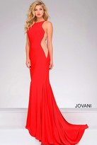 Jovani Jersey Fitted Dress with Sheer Side Panels 35353