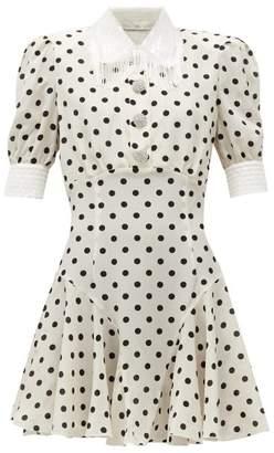 Alessandra Rich Fringed Sequin-collar Polka-dot Silk Mini Dress - Womens - White Black