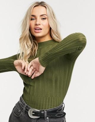Brave Soul wren ribbed sweater in khaki