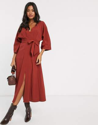 Asos Design DESIGN textured midi dress with pockets