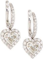 Neiman Marcus Diamonds 18k White Gold Diamond Heart Drop Earrings, 2.22tcw