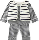 Petit Bateau Striped cotton three-piece baby set 1-18 months