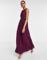 Thumbnail for your product : Little Mistress chiffon maxi dress in deep purple