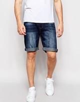 Pull&bear Denim Shorts In Dark Blue
