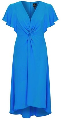 Adrianna Papell Twist Front Gauzy Crepe Dress