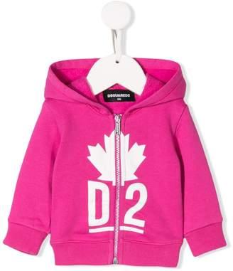DSQUARED2 Logo Print Zipped Hoodie