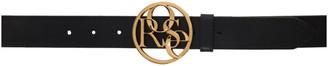 Martine Rose Black and Gold Rose Buckle Belt