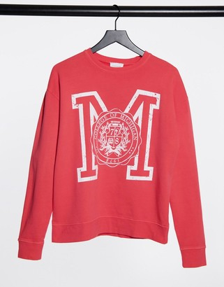 Topshop collegiate sweatshirt in washed red
