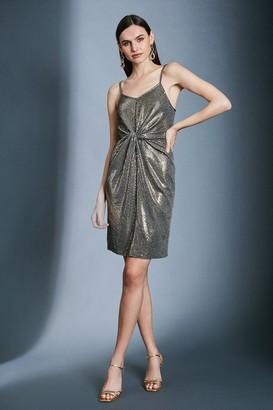 Karen Millen Gold Sequin Strappy Knot Jersey Dress