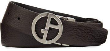 Giorgio Armani Men's Reversible Logo-Buckle Vitello Belt, Brown/Black