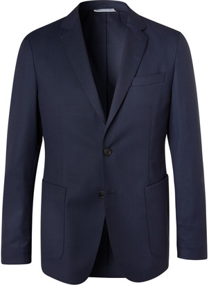 HUGO BOSS Navy Hooper Slim-Fit Unstructured Virgin Wool-Blend Suit Jacket