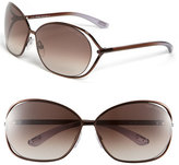 Tom Ford Women's 'Carla' 66Mm Oversized Round Metal Sunglasses - Brown/ Brown