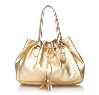 Prada Gold Metallic Leather Tassel Tote Bag