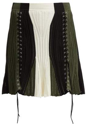 Alexander McQueen Lace-up Silk-blend Skirt - Womens - Black Green