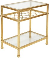 The Well Appointed House Upper East Gold Leaf Side Table with Quatrefoil Motif & Glass Top