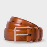 Paul Smith Men's Tan Leather Double Keeper Classic Suit Belt