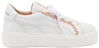 See by Chloe Sevy Rickrack-trim Raised-sole Leather Trainers - Pink White