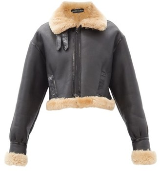 David Koma Cropped Shearling Jacket - Brown
