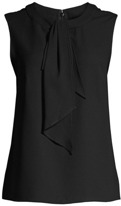 Misook Draped Tie-Neck Sleeveless Blouse