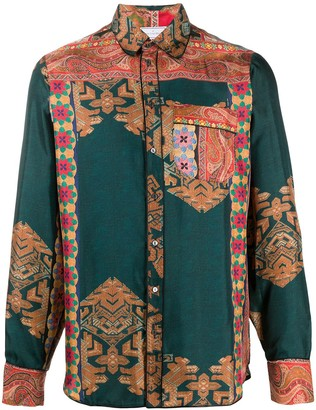 Pierre Louis Mascia Aloe/S mixed-pattern silk shirt