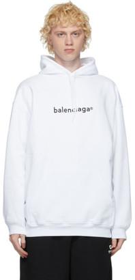 Balenciaga White Copyright Logo Hoodie