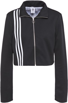 adidas Cropped Stripe-trimmed Jersey Track Jacket