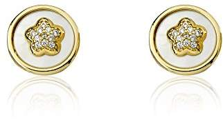"""Little Miss Twin Stars Girls' Flower Girl"""" 14k -Plated Coin Pearl Accented with Cubic Zirconia Flower Stud Earrings"""