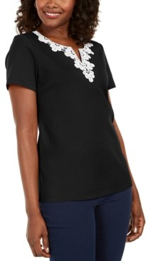 Karen Scott Crochet-Trim Split-Neck Top, Created for Macy's