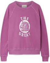 The Great The College Distressed Printed Cotton-terry Sweatshirt - Plum