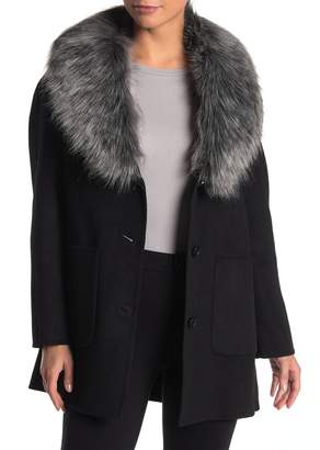 Laundry by Shelli Segal Faux Fur Collar Wool Blend Coat