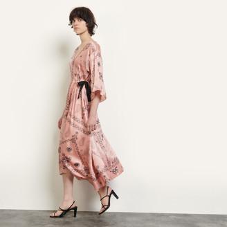 Sandro Long asymmetrical printed dress