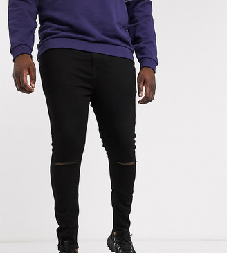 ASOS DESIGN Plus spray on jeans in power stretch denim in black with knee rip