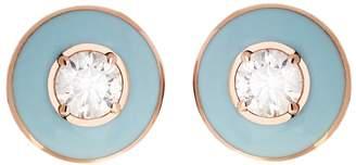 Selim Mouzannar Round Light Blue Enamel and Diamond Stud Earrings - Rose Gold
