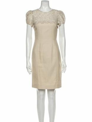 Valentino Crew Neck Mini Dress Gold