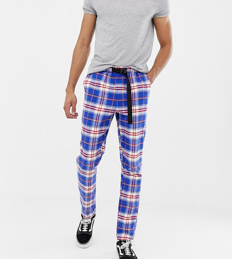 ASOS DESIGN Tall tapered pants in check with belt detail