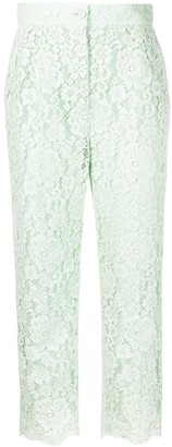 Dolce & Gabbana Cropped Floral-Lace Trousers