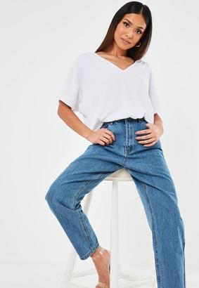 Missguided Petite White V Neck Oversized T Shirt