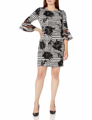 Sandra Darren Women's 1 PC 3/4 Bell Sleeve Printed Scuba Crepe Sheath Dress