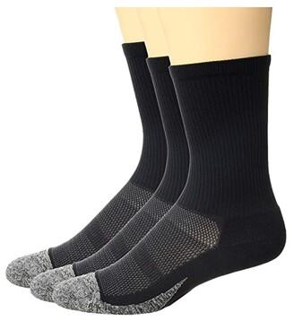 Feetures Elite Light Cushion Mini Crew 3-Pair Pack (Black) Crew Cut Socks Shoes