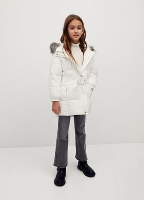 MANGO Faux fur hood quilted coat