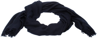 Hermes Navy Blue Cashmere Silk Infinity Shawl