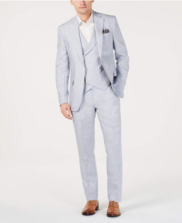 Tallia Men Slim-Fit Linen Light Gray Vested Suit