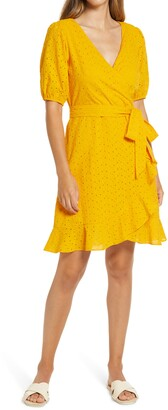 Julia Jordan Balloon Sleeve Cotton Eyelet Faux Wrap Dress