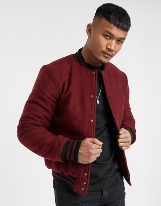 Bolongaro Trevor wool bomber jacket with contrast sleeves-Red