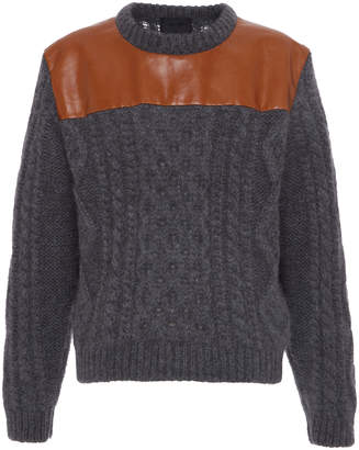 Prada Leather Panel Wool Sweater Size: 46