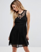 Vero Moda Skater Dress With Lace Panel