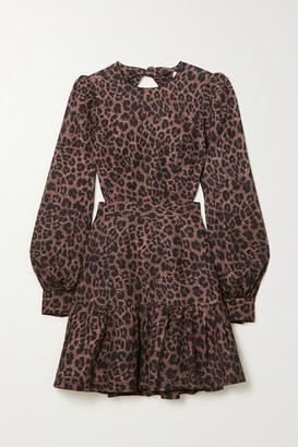 Rebecca Vallance Yasi Cutout Tiered Leopard-print Linen-blend Mini Dress - Brown