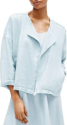 Eileen Fisher Heavy Organic Linen Drape Front Jacket