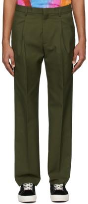 MSGM Khaki Gabardine Pleated Trousers