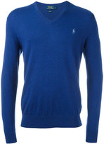 Polo Ralph Lauren embroidered logo jumper - men - Cotton/Cashmere - M